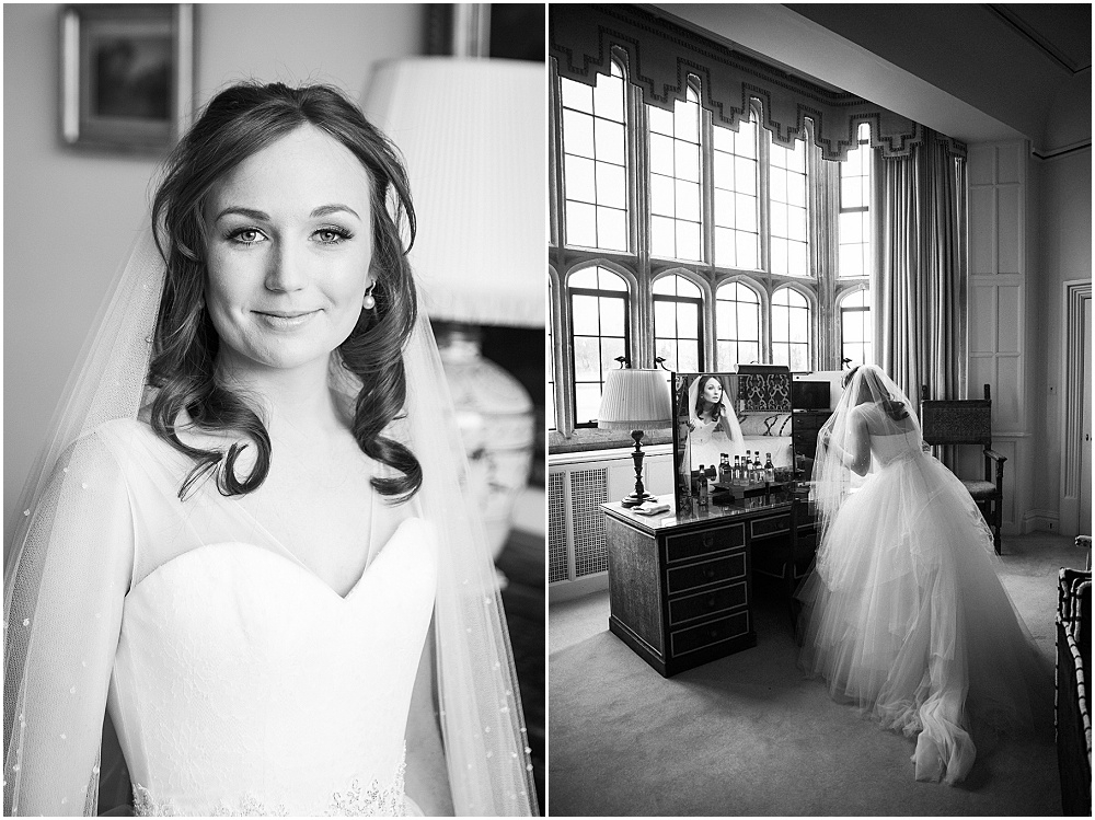 Stunning bride in leeds castle getting ready room