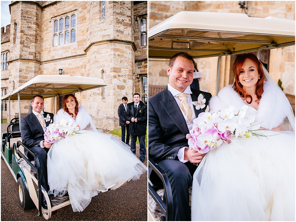 Bride and groom in golf buggy for wedding pictures