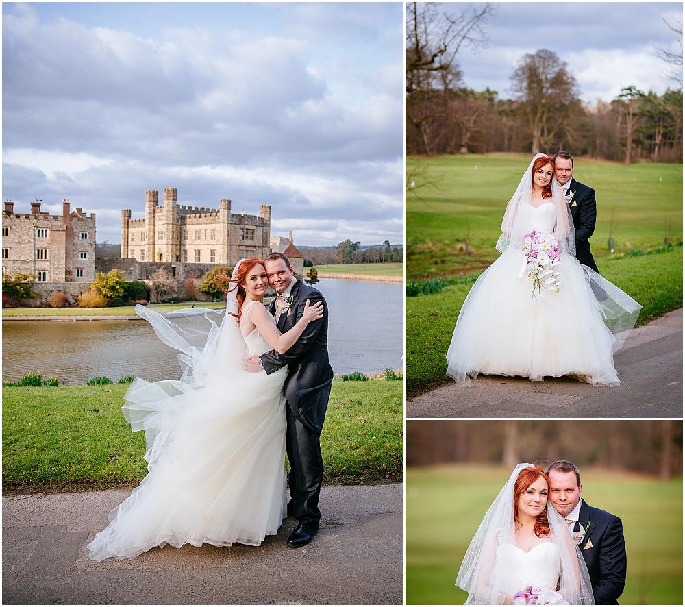 Bride and groom portraits in grounds of leeds castle
