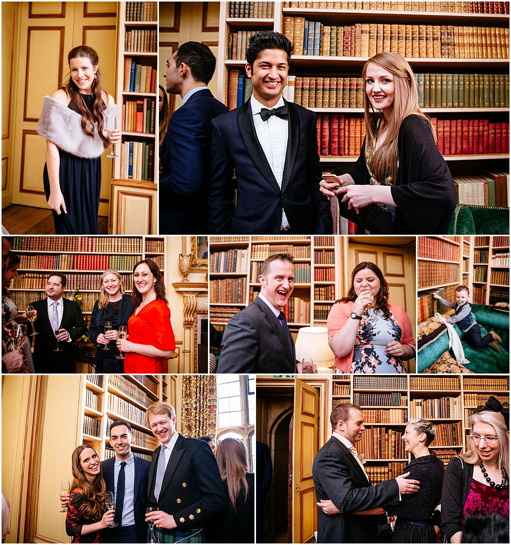 Candid wedding photography in castle library