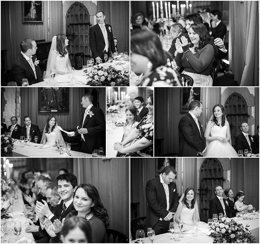 Black and white photos of laughing wedding guests