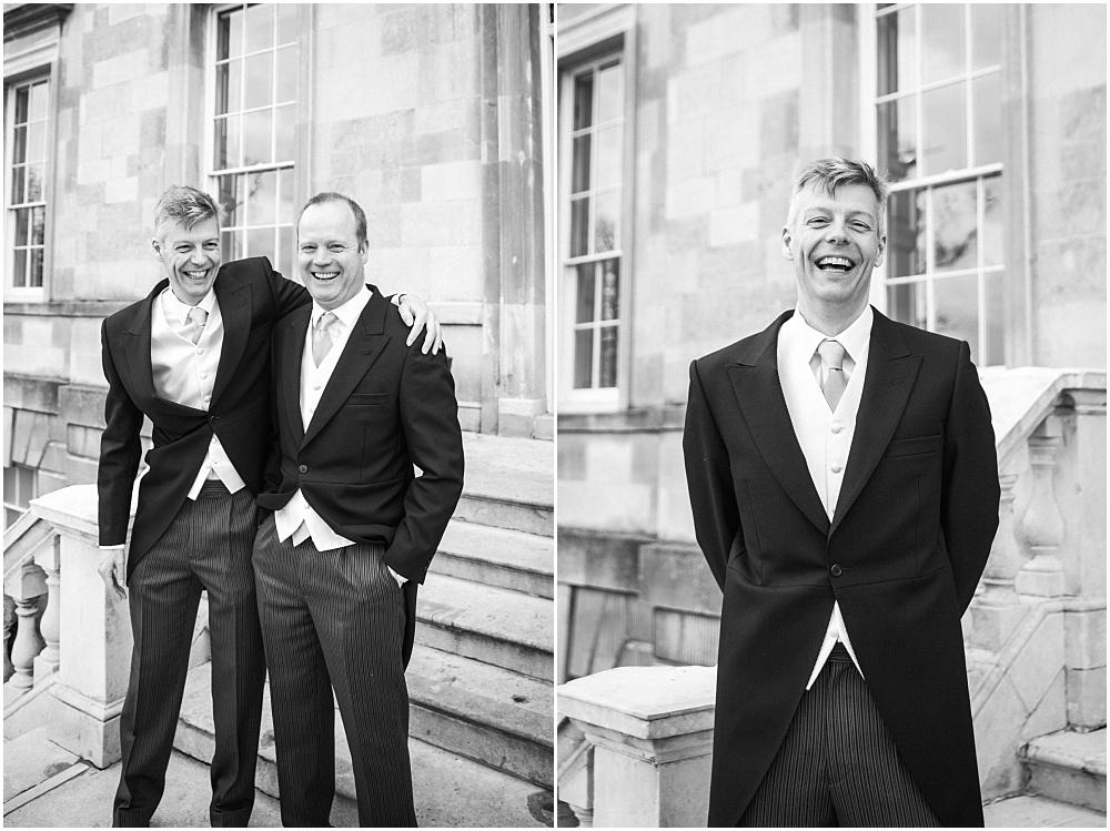Groom laughs outside botleys mansion