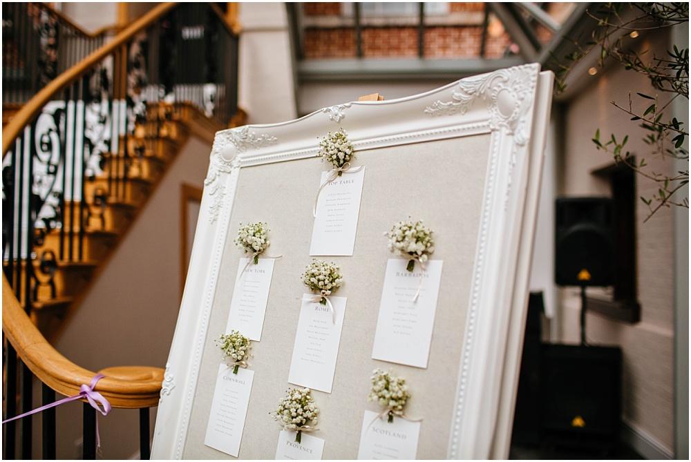 Stylish framed wedding table plan