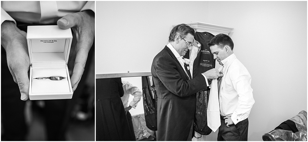 Groom prep photos in black and white