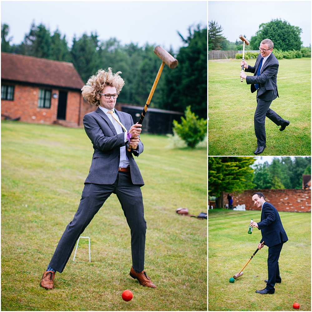 Playing croquet enthusiastically at wedding
