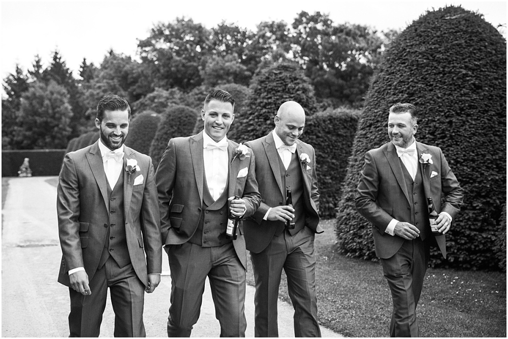 Ushers and groom before great fosters wedding