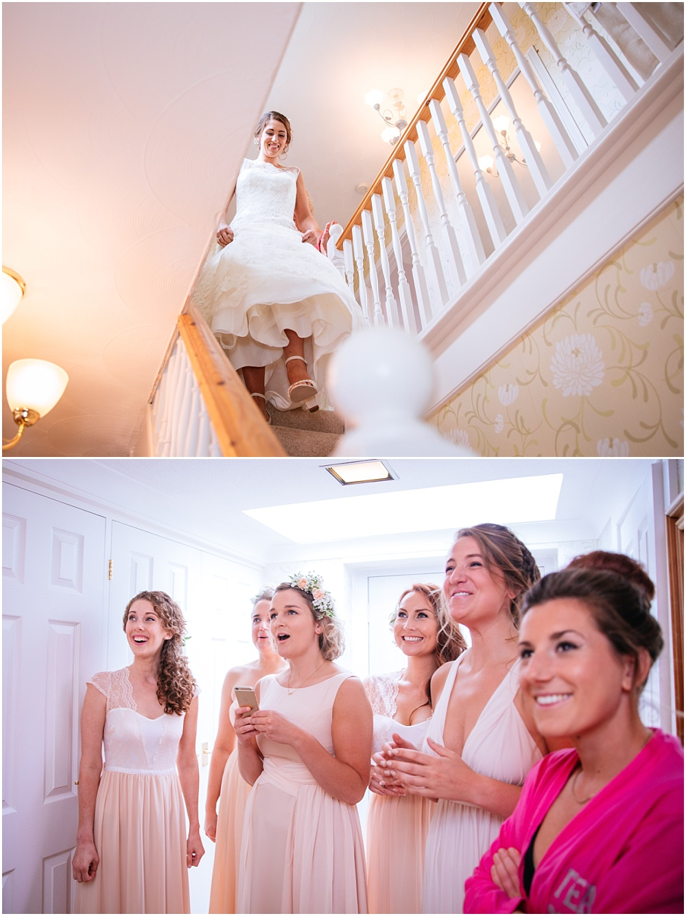 Bridesmaids gasp as they see bride for the first time