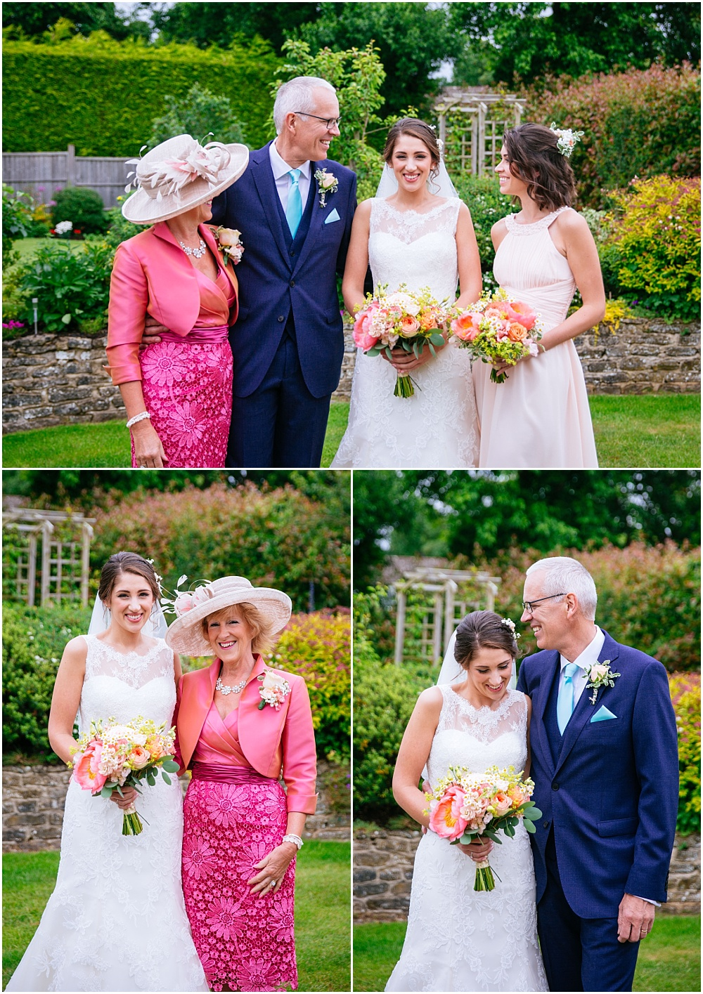 Photographs in family garden in liphook before grittenham barn wedding