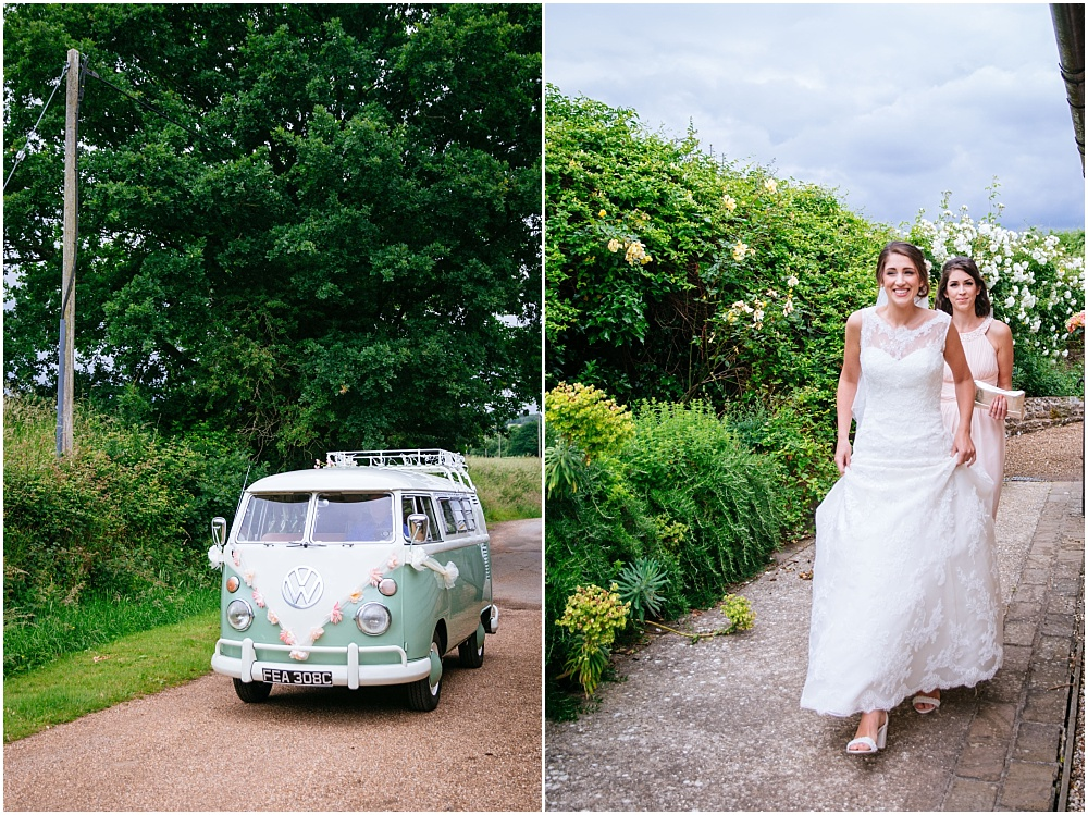 Bride arrives in vintage vw camper van