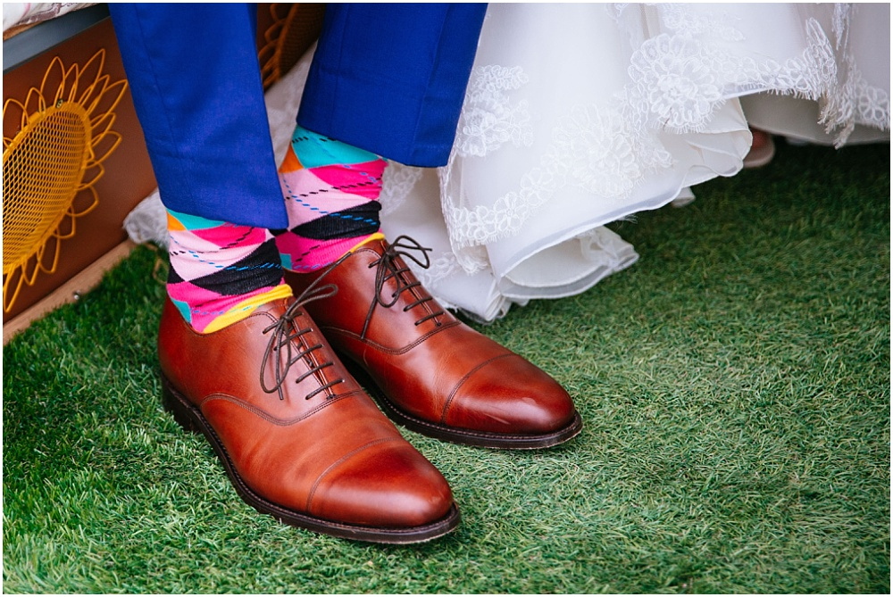 Funky socks at wedding