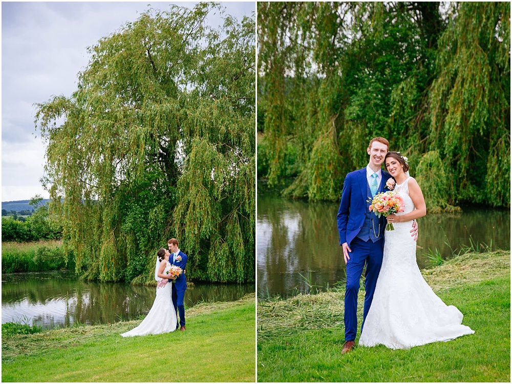 Couple wedding photographs by lake