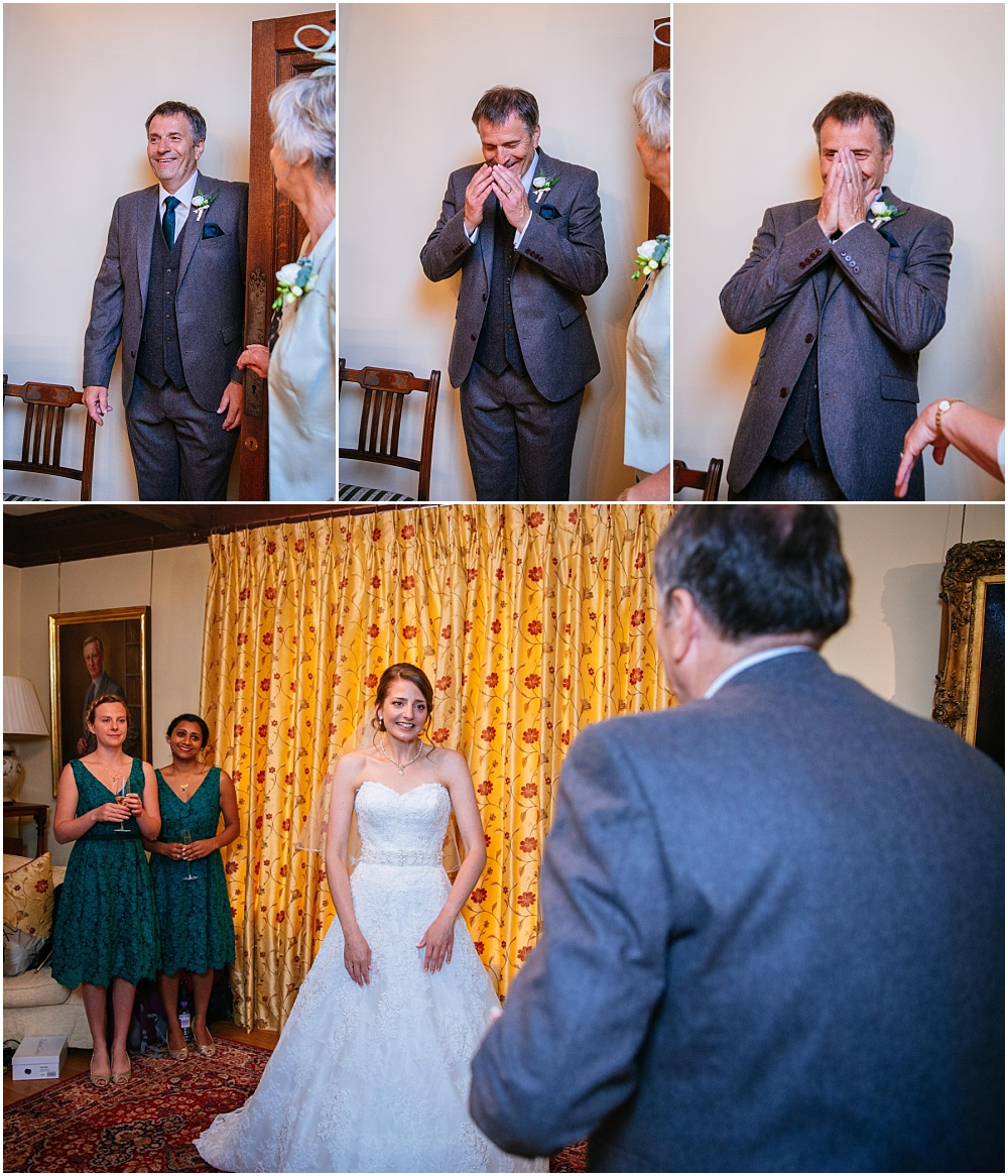 Father crying as he sees bride in wedding dress