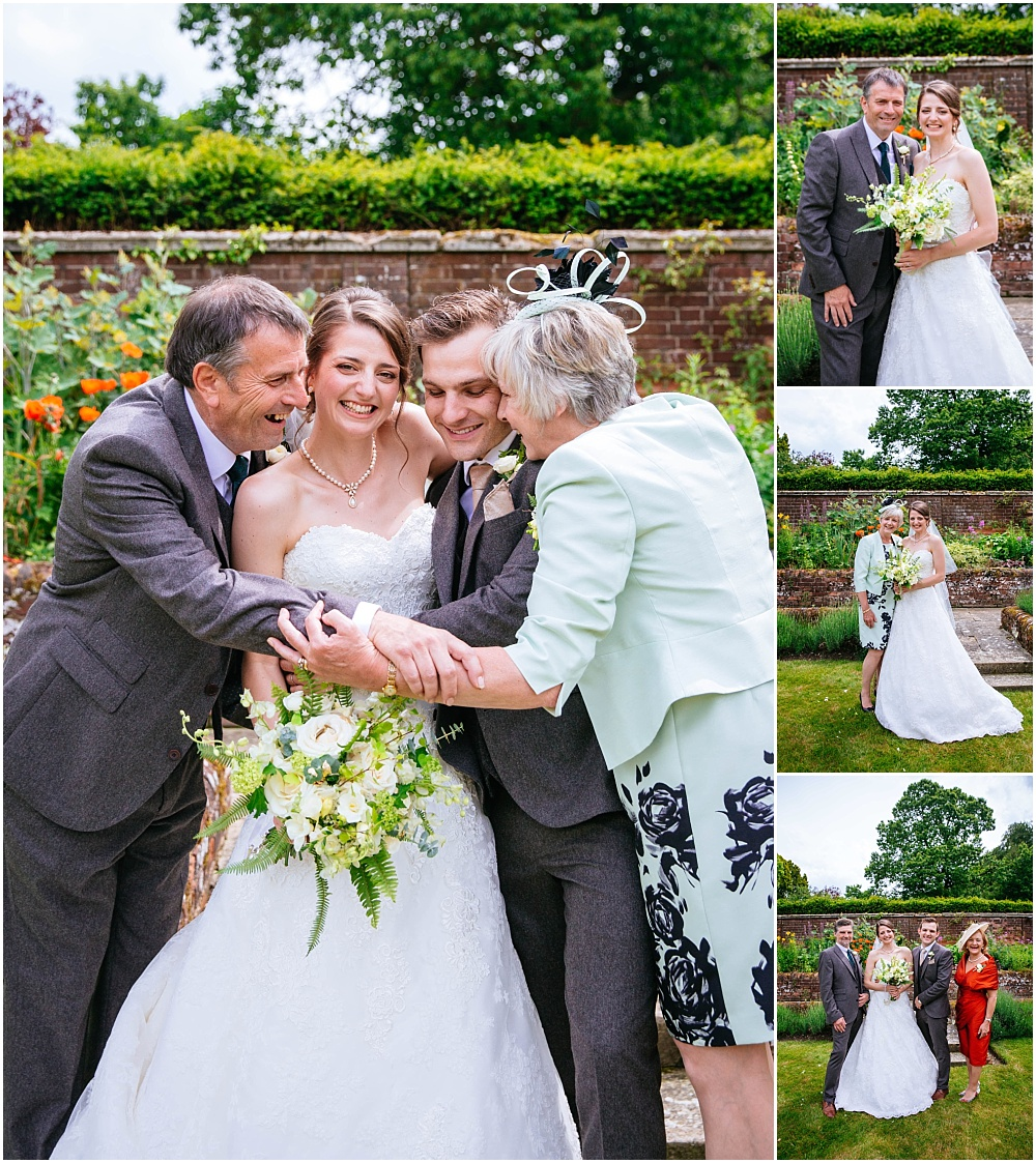 Relaxed happy group photographs at wedding