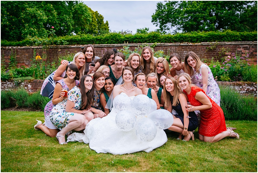 Bride and her female friends