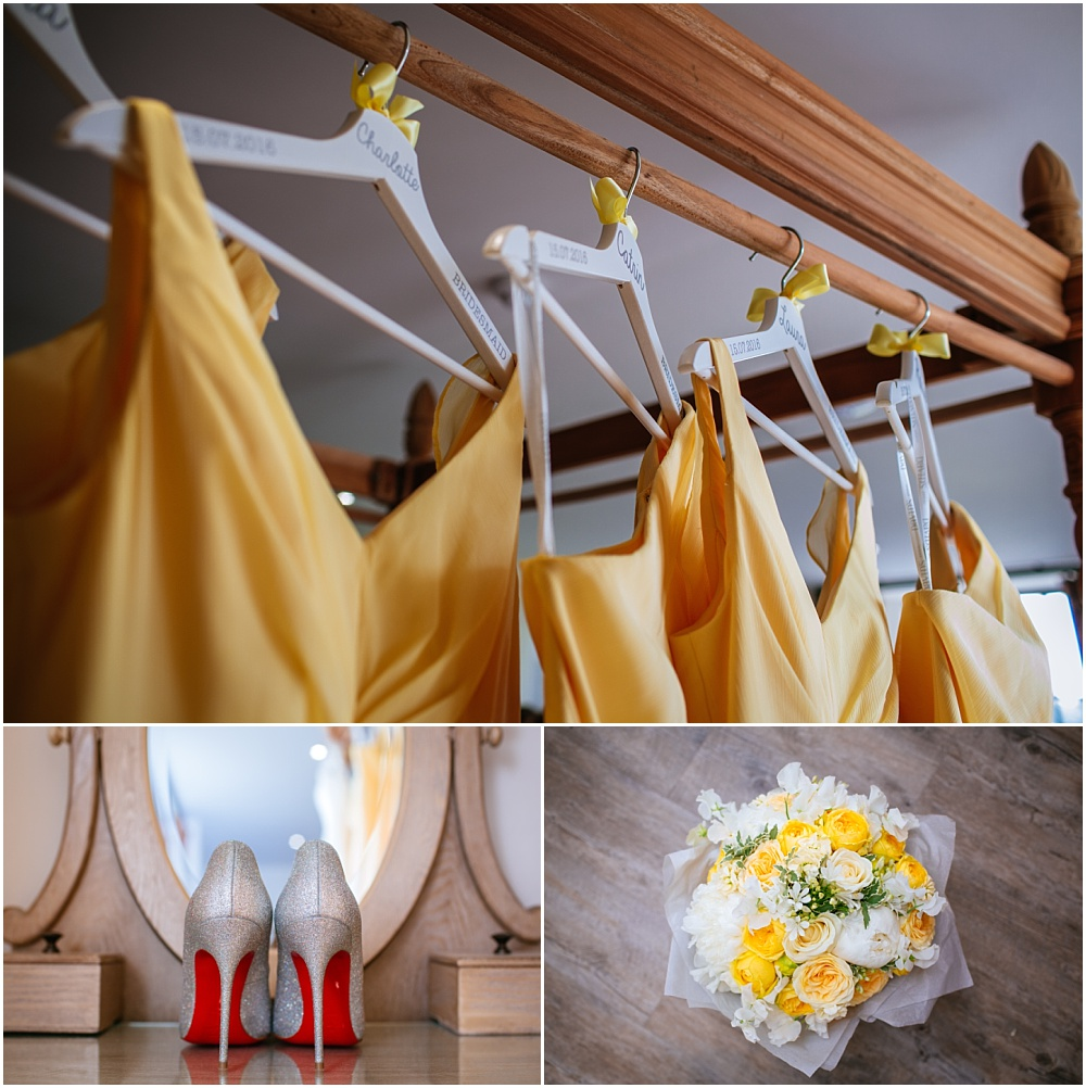 Yellow bridesmaids dresses and flowers