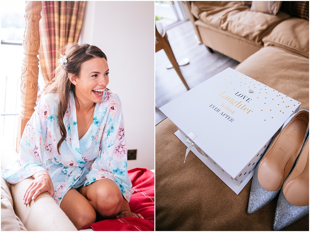 laughing bridesmaid in pretty dressing gowns