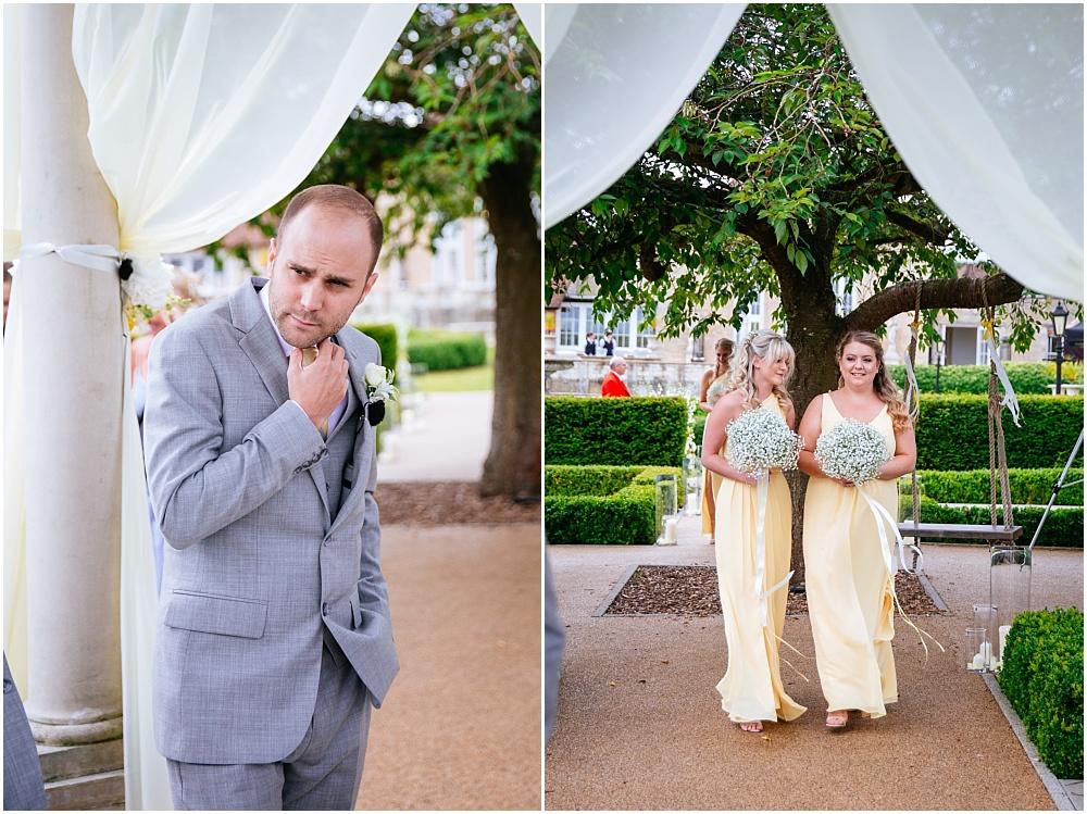 Nervous groom at outdoor ceremony
