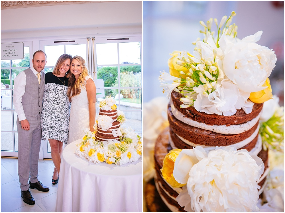 Stunning naked wedding cake with yellow flowers