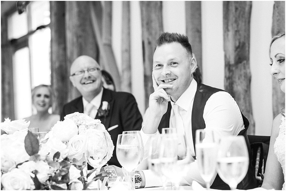 Laughing at wedding speeches