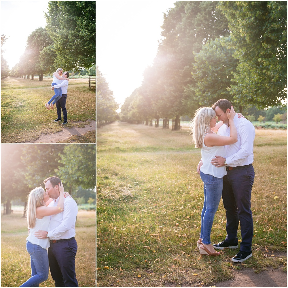 Couple shoot in the golden hour in bushy park