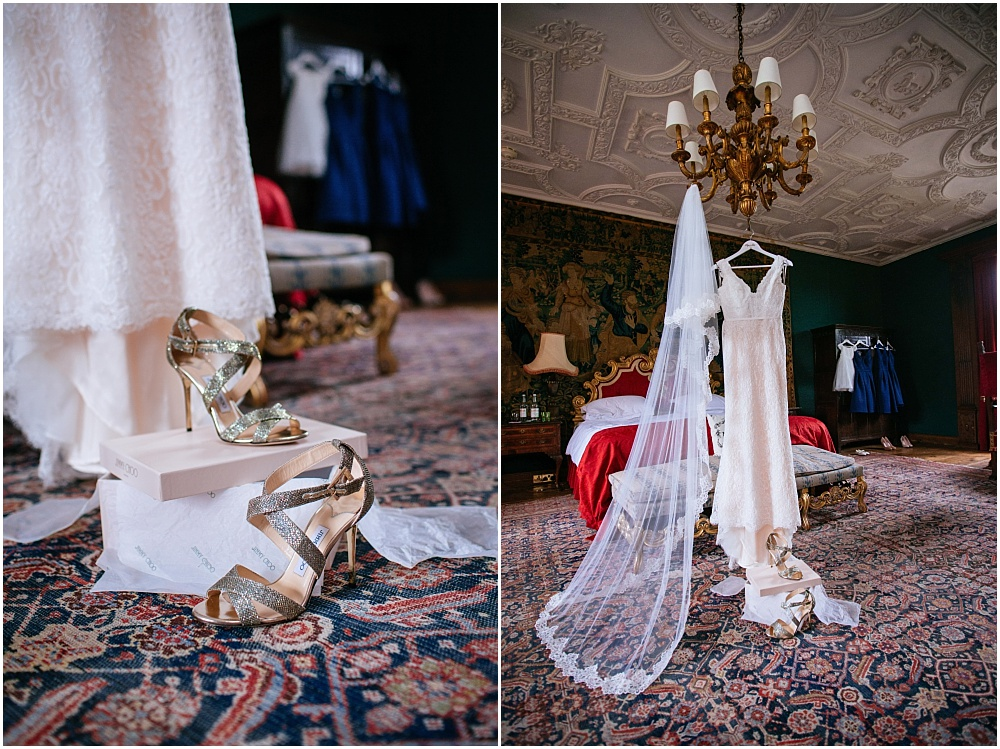 Dress hanging from chandelier in tapestry room