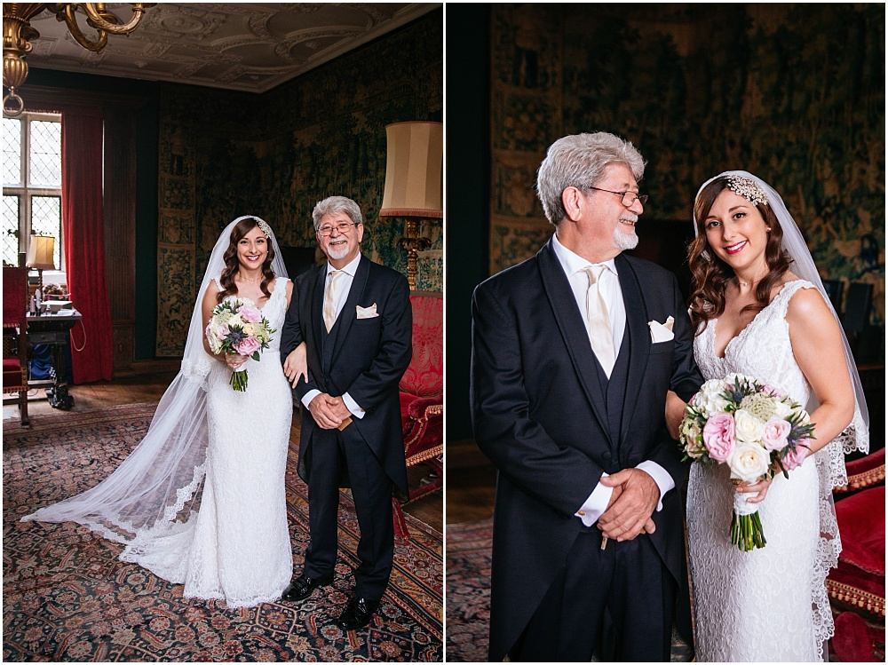 Bride and her proud dad before wedding ceremony