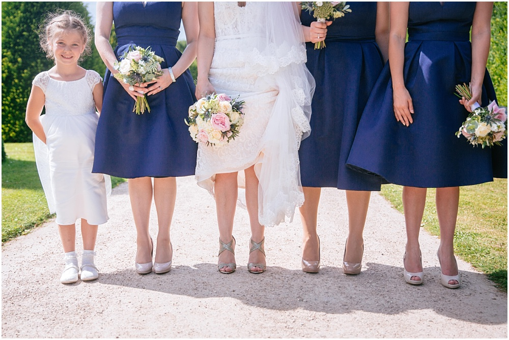 Brides shoes and flower girl