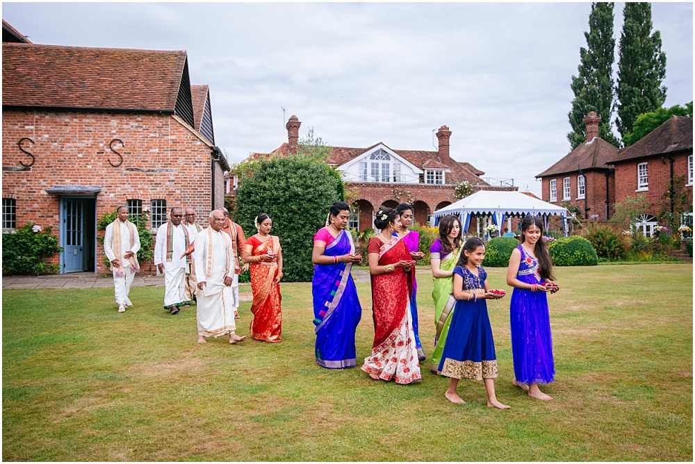 Arrival of bride for hindu ceremony micklefield hall