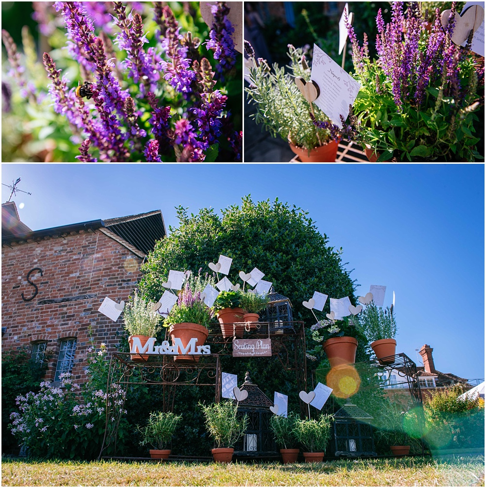 Fun wedding table plan with lavender plants