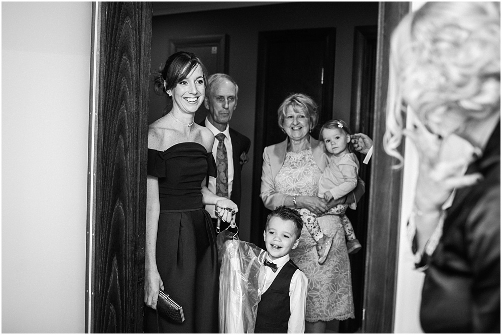 Family arriving at wedding