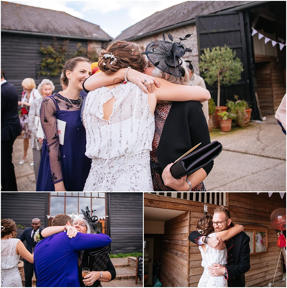 Lots of hugs after wedding