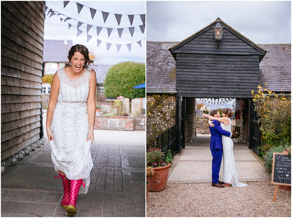 Bride in phase 8 wedding dress and wellies