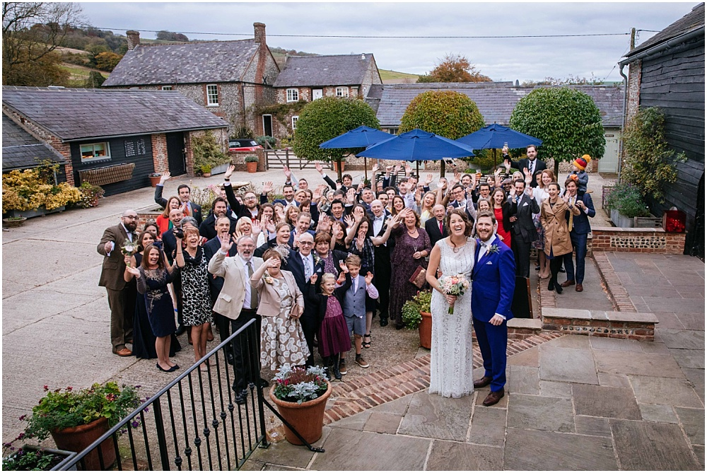 Upwaltham barns wedding photography big group photograph