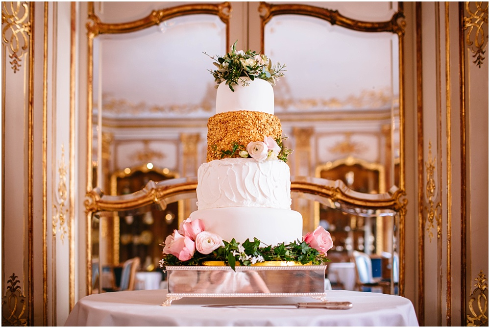 Savile club gold wedding cake