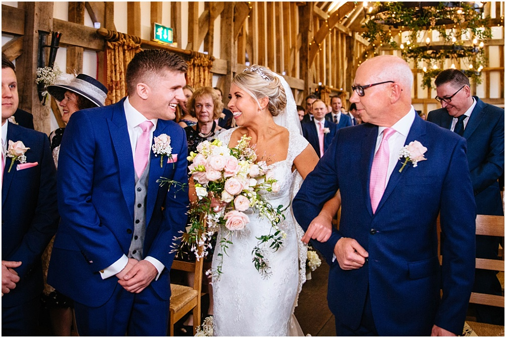 Bride delighted to see groom