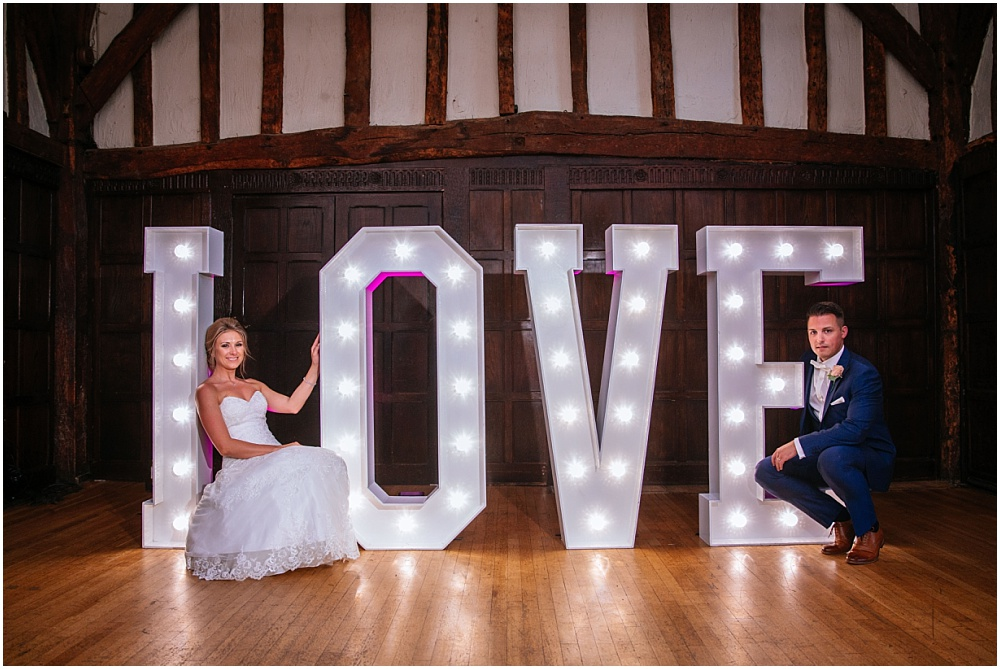Light up letters at great fosters wedding