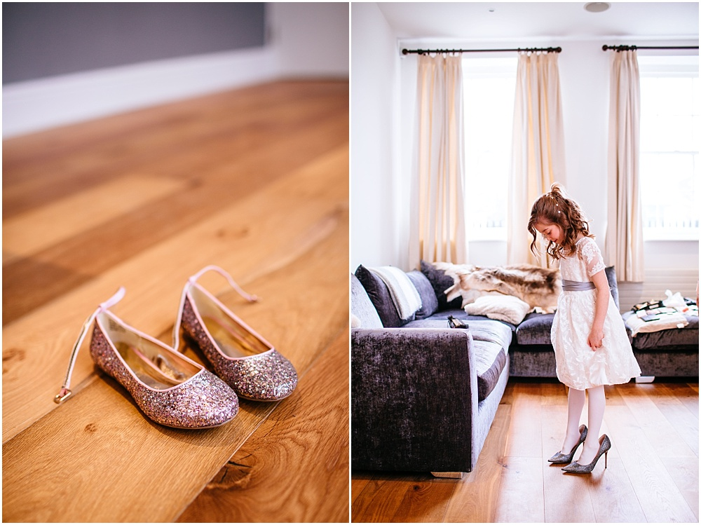 bridesmaid trying on wedding shoes