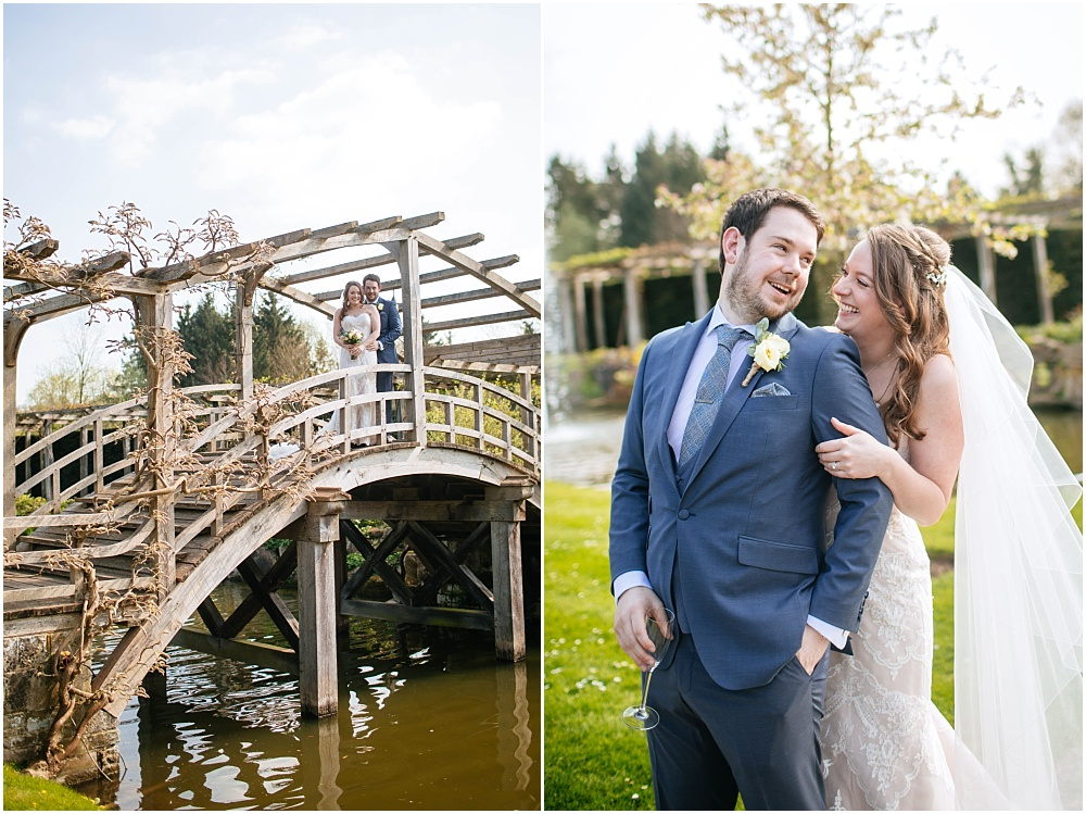 Bride and groom on bridge at great fosters