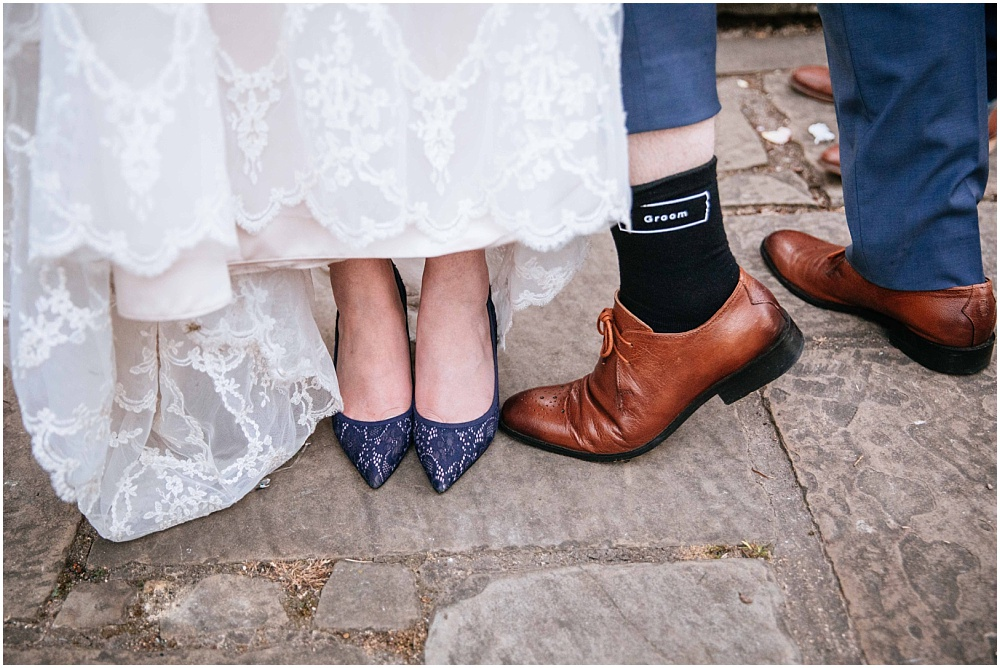 Blue shoes and maggie sottero wedding gown