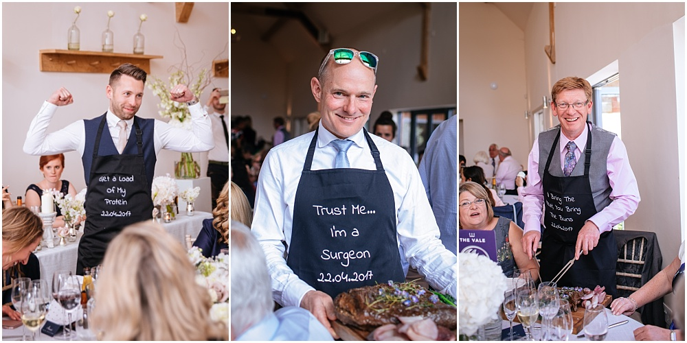 Funny aprons for carver at wedding