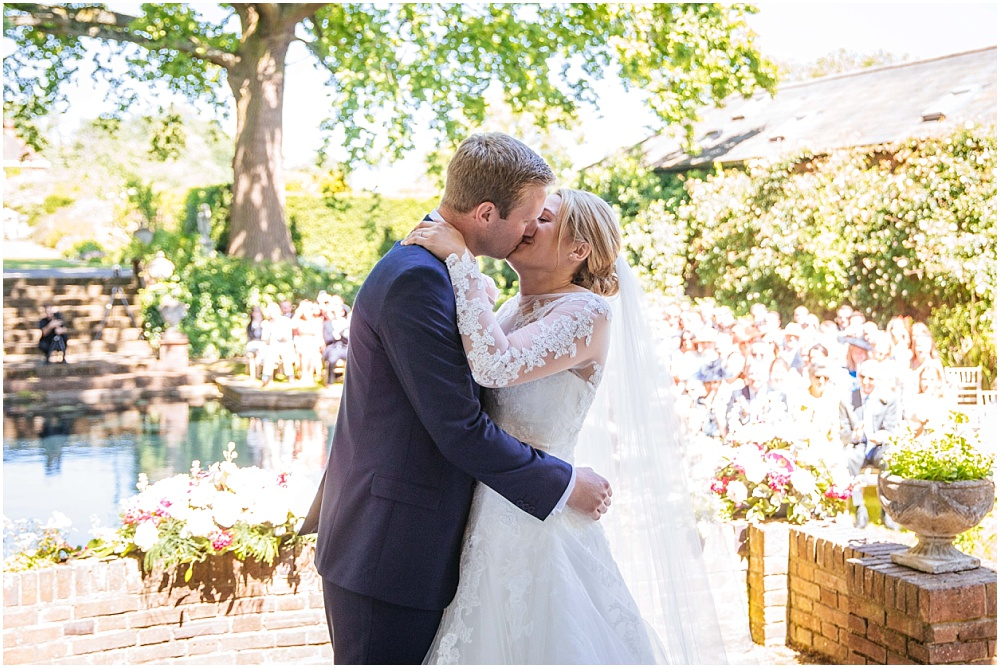 First kiss at hertfordshire wedding