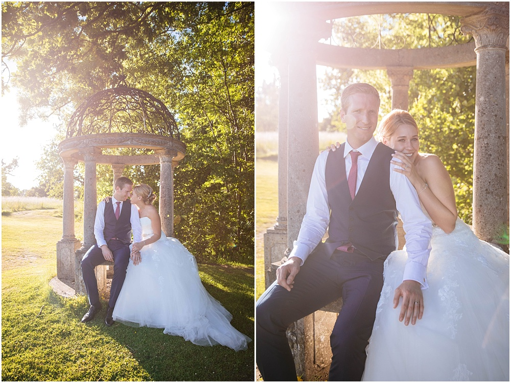 Bride and groom in golden light