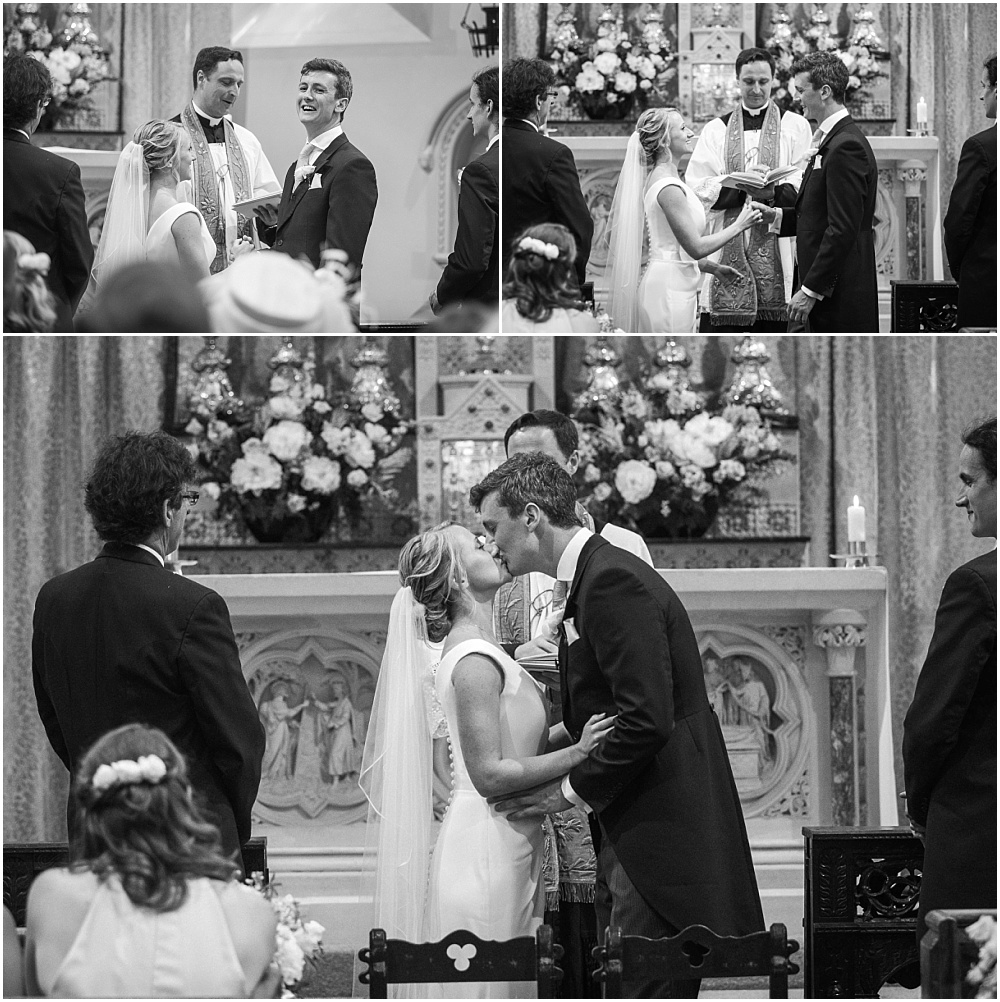First married kiss in black and white