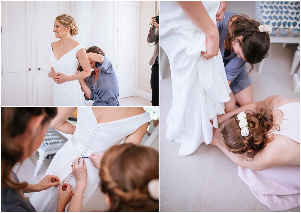Getting into wedding dress
