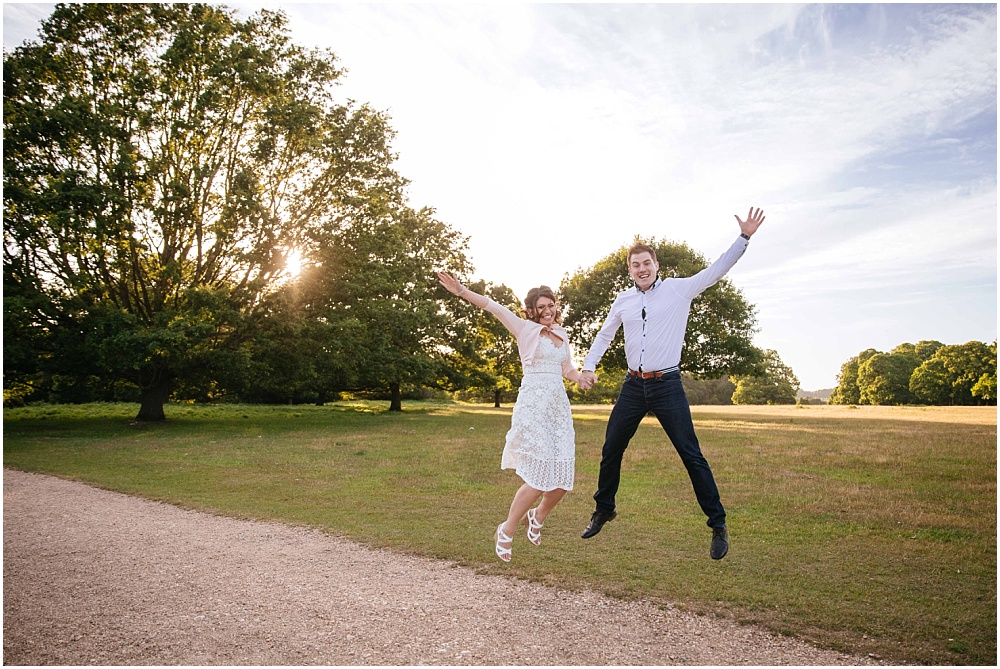 Jumping engagement photography