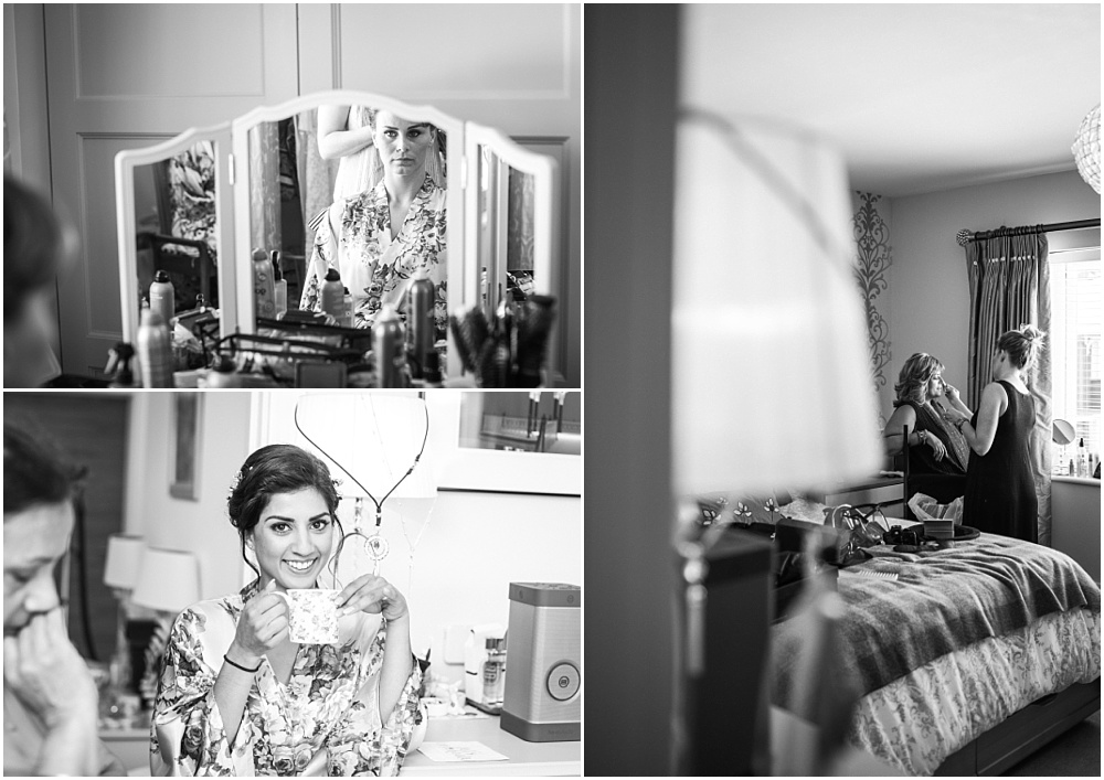 black and white wedding preparation