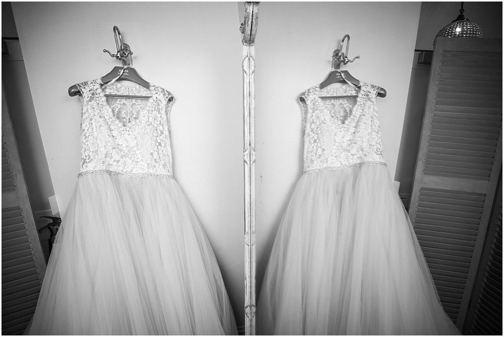 Reflection of wedding dress