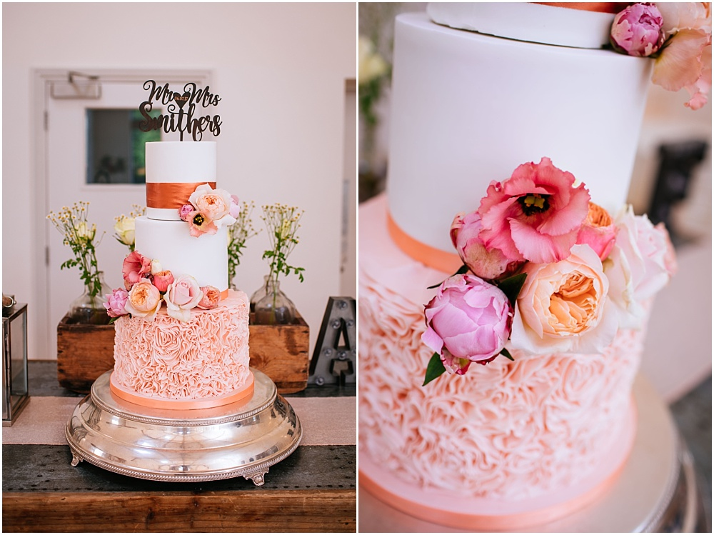 Cake with blush flowers