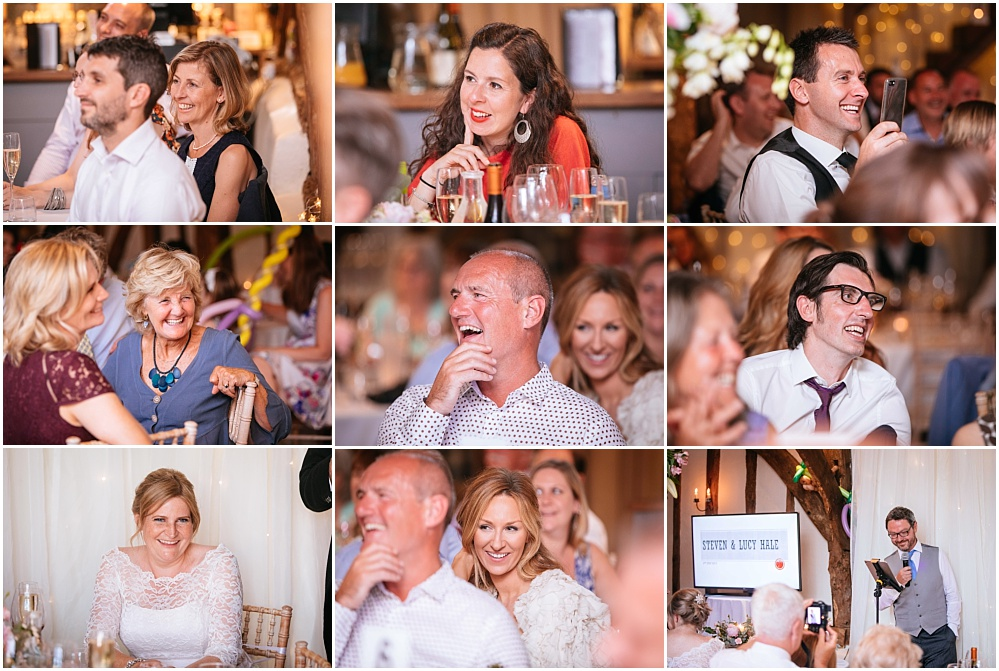 Guests laughing at oxfordshire wedding speeches