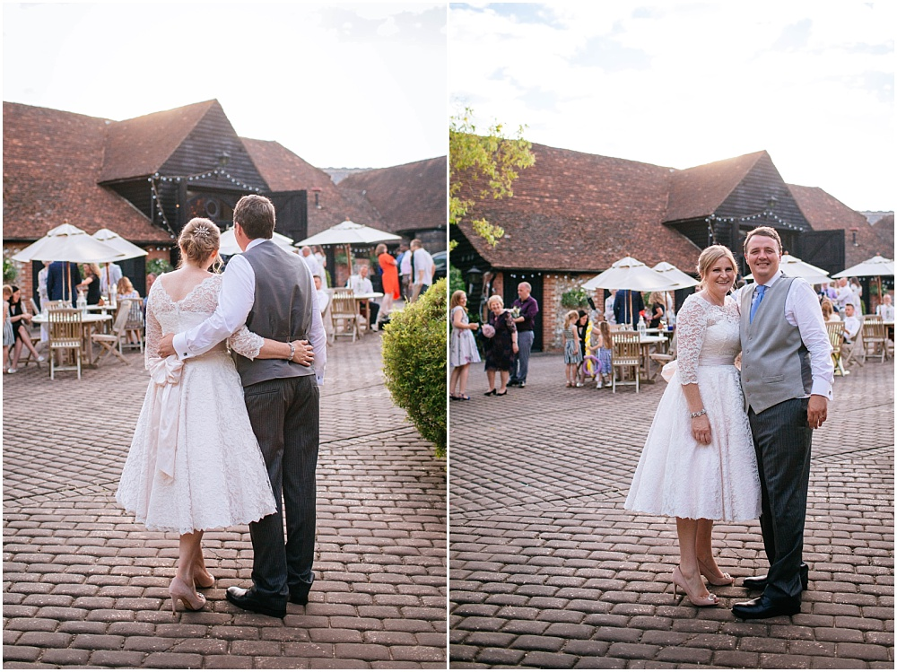 Bride and groom outside oxfordshire wedding venue